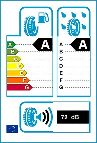 Üzemanyag-hatékonyság: A, Fékezés nedves úton: A, Gördülési zaj: 72 dB