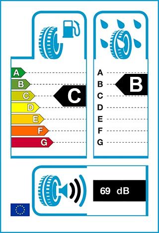 Üzemanyag-hatékonyság: C, Fékezés nedves úton: B, Gördülési zaj: 69 dB