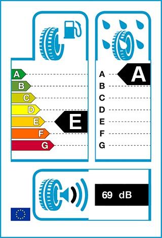 Üzemanyag-hatékonyság: E, Fékezés nedves úton: A, Gördülési zaj: 69 dB
