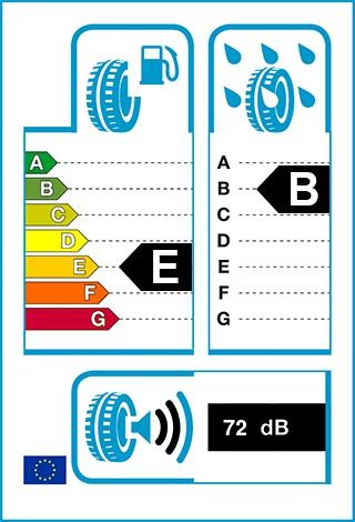 Üzemanyag-hatékonyság: E, Fékezés nedves úton: B, Gördülési zaj: 72 dB