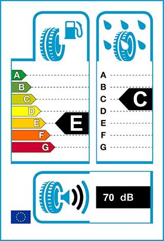 Üzemanyag-hatékonyság: E, Fékezés nedves úton: C, Gördülési zaj: 70 dB